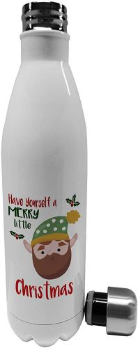 750ml Merry Little Christmas Beard Elf Novelty Stainless Steel Vacuum Insulated Water Bottle